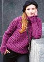 Удлиненный свитер с волнистым рельефным узором. Спицы