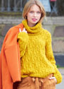Желтый свитер с косами и широким воротником. Спицы