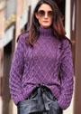 Ежевичный свитер с косами и ромбами. Спицы