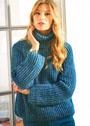 Сине-зеленый свитер с патентным узором. Спицы