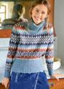 Жаккардовый свитер с широкой планкой в резинку. Спицы