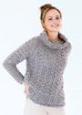 Серый свитер с драпирующимся воротником. Спицы