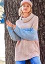 Трехцветный свитер с патентным узором. Спицы