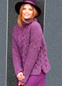 Лиловый свитер с узором из кос. Спицы