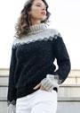 Черно-белый свитер с жаккардовым узором. Спицы