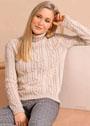 Кашемировый свитер с узором из кос. Спицы