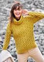 Горчично-желтый свитер со сплошными косами. Спицы