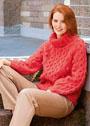 Красный свитер с крупными шишечками. Спицы