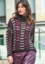 Трехцветный свитер с узором из снятых петель. Спицы