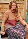 Трехцветный свитер с мелкими косичками. Спицы