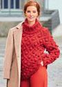 Красный свитер с узором из ромбов и крупных шишечек. Спицы