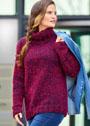 Меланжевый сине-красный свитер простой крупной вязки. Спицы
