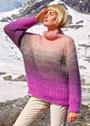 Многоцветный свитер из полупатентной резинки. Спицы