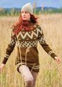 Удлиненный свитер с жаккардовыми узорами. Спицы