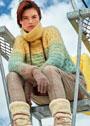 Пушистый мохеровый свитер с узором Бабочки. Спицы