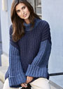 Теплый свитер оверсайз в резинку. Спицы