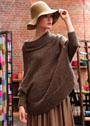 Коричневый свитер-накидка с большим воротником. Спицы