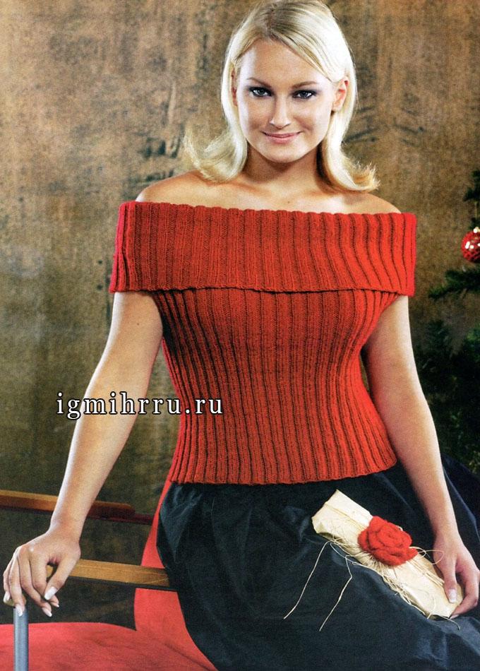 Нарядный топ красного цвета, от финских дизайнеров. Вязание спицами