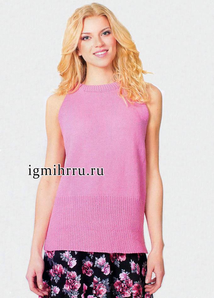 Просто и удобно! Яркий розовый топ-реглан, от финских дизайнеров. Вязание спицами
