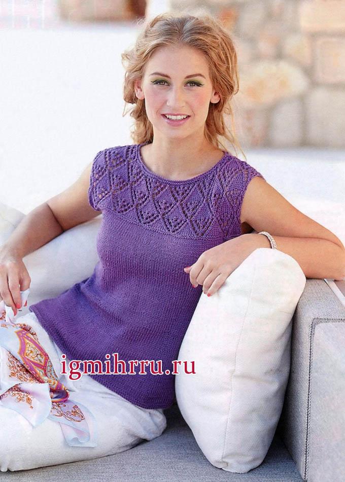 Фиолетовый топ с кокеткой из ажурных ромбов, от финских дизайнеров. Вязание спицами