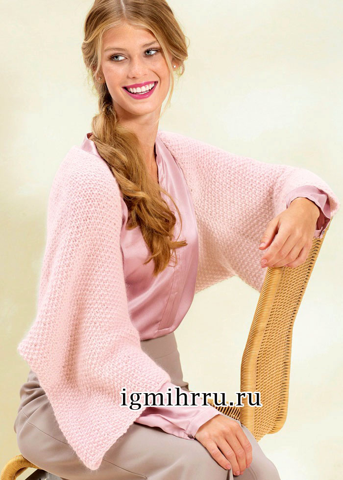 Розовый мягкий шраг с жемчужным узором. Вязание спицами