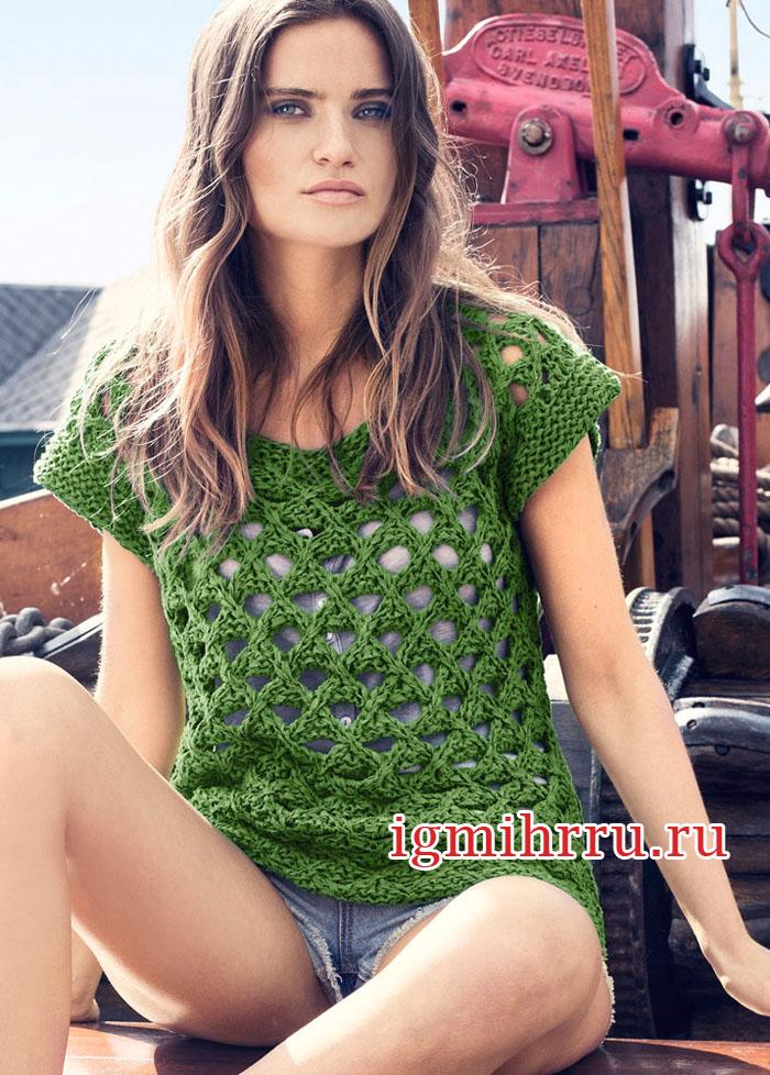 Зеленый летний топ с сетчатым узором. Вязание спицами