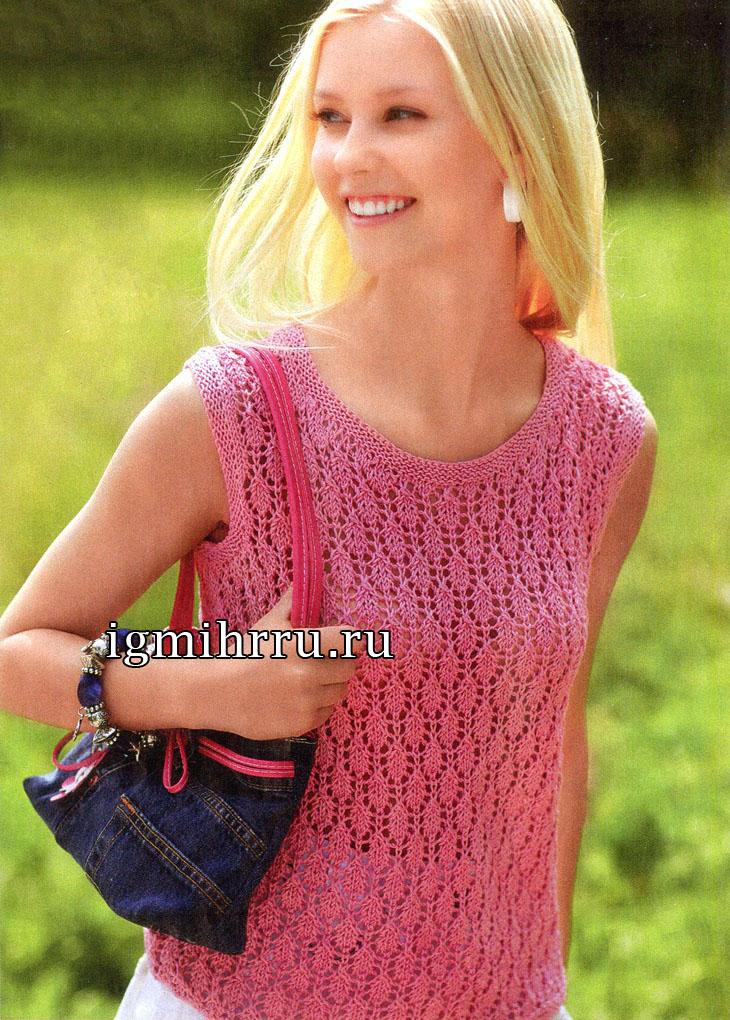 Летний ажурный топ розового цвета. Вязание спицами