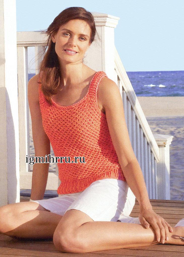 Оранжевый летний топ с плетеным узором. Вязание спицами