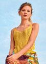 Желтый летний топ с миксом узоров. Спицы
