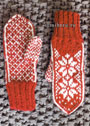 Скандинавские мотивы. Красные варежки со снежинками. Спицы