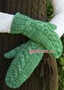 Зеленые варежки с центральным узором с косой. Спицы