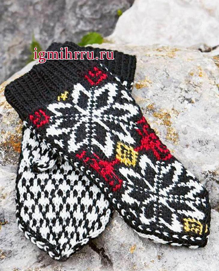 Варежки из мериносовой шерсти, в классическом норвежском стиле. Вязание спицами