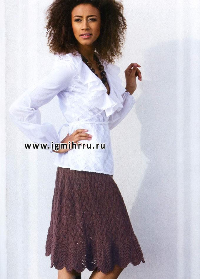 Темно-коричневая юбка с узором Павлиний хвост. Спицы