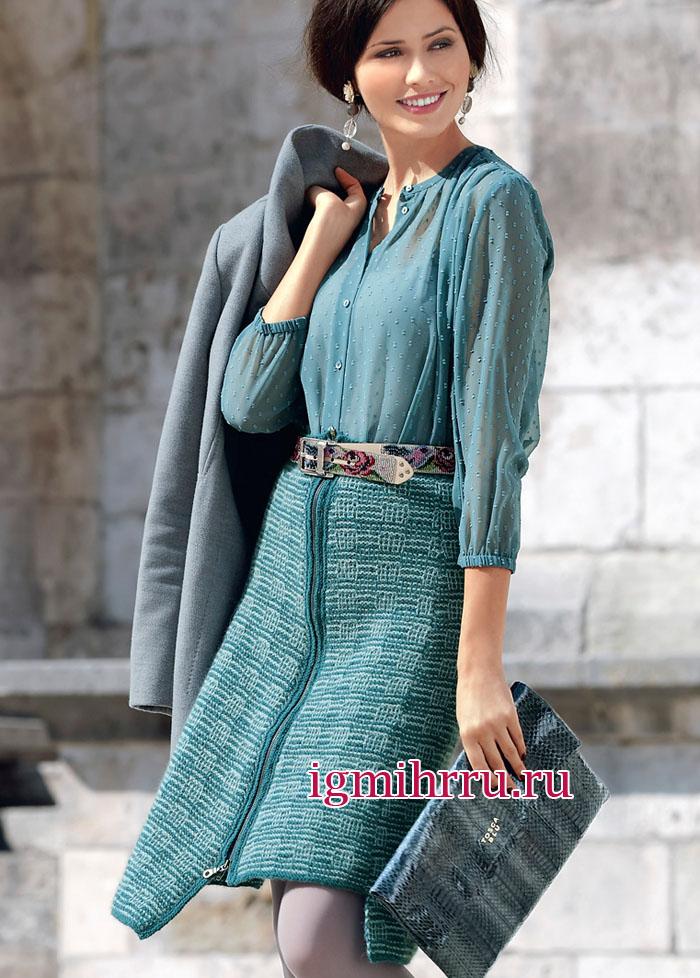 Твидовая юбка в клетку, с неравномерной линией низа и длинной застежкой-молнией. Вязание спицами
