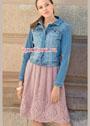 Розовая мохеровая юбка с ажурным бордюром. Спицы