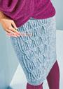Серо-голубая юбка с рельефным узором. Спицы