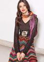 Разноцветная шерстяная юбка в стиле Missoni. Спицы