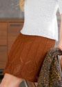 Коричневая хлопковая юбка с ажурным узором. Спицы
