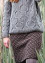 Шерстяная юбка с двухцветной клеткой. Спицы
