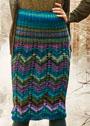 Юбка с разноцветными зигзагообразными узорами. Спицы