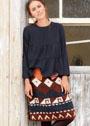 Шерстяная юбка с геометрическими узорами. Спицы