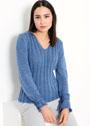 Повседневный ярко-синий пуловер с вертикальными дорожками. Спицы