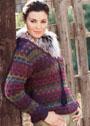 Разноцветный пуловер с вытянутыми петлями. Спицы