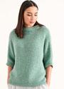Светло-зеленый пуловер с рукавами три четверти. Спицы
