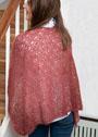 Ажурная мохеровая шаль бордового цвета. Спицы